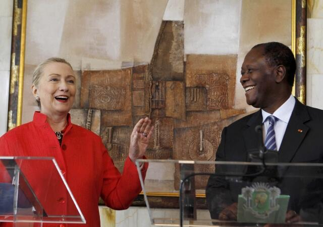 Friends in highy places - US Secretary of State Hillary Clinton visits Alassane Ouattara this month