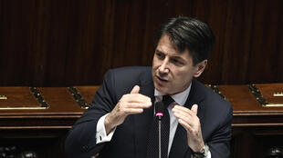 Italian premier Giuseppe Conte speaks at the Lower House, ahead of a confidence vote on the government program, in Rome on June 6, 2018.