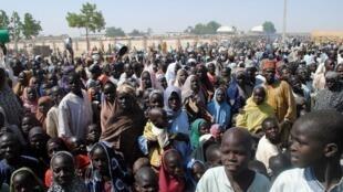 Wasu 'yan gudun hijira da hare-haren Boko Haram ya raba da muhallansu a Najeriya.