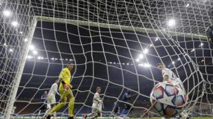 Một pha ghi bàn của Inter Milan vào lưới Borussia (Đức) ngày 21/10/2020 trên sân San Siro Milan trong trận ra quân bảng B, Champions League 2020-2021.