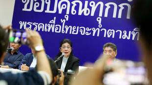 Lãnh đạo đảng Pheu Thai, Sudarat Keyuraphan, họp báo sau kết quả bầu cử sơ khởi, Bangkok, Thái Lan, ngày 25/03/2019.