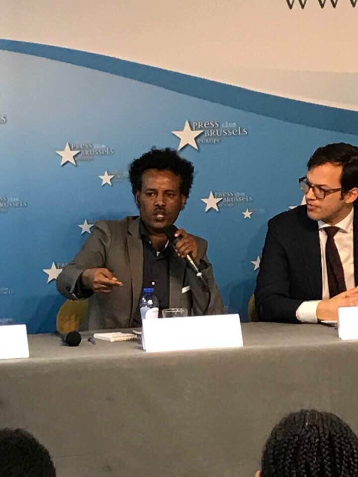 Mulueherban Temelso, Director of the Foundation Human Rights for Eritreans that is summoning EU, at Press Club Brussels