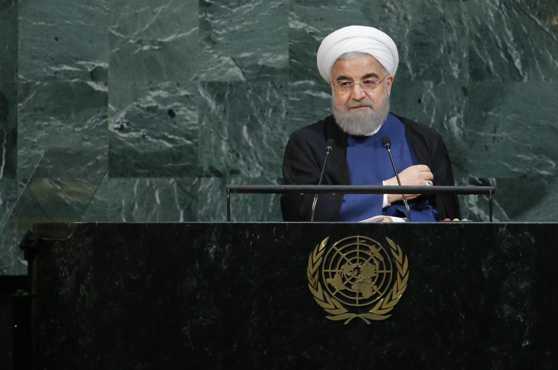 Presidente iraniano Hassan Rohani durante discurso na Assembleia Geral da ONU desta quarta-feira (20).