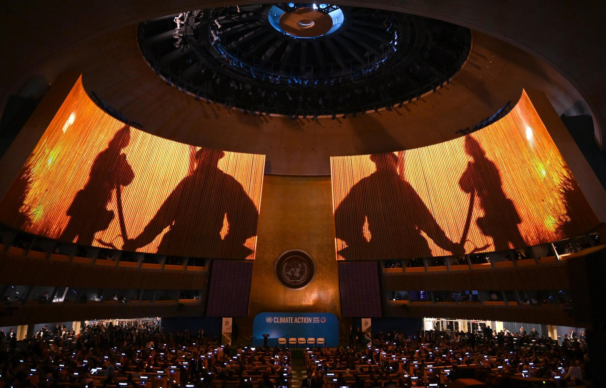The General Assembly Hall is seen during the Climate Action Summit 2019 in the United Nations General Assembly Hall September 23, 2019 in New York City.