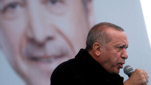 Erdogan at a campaign rally in Istanbul. He has angered New Zealand by airing video footage of the Christchurch mosque attacks during these events