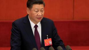 O presidente chinês Xi Jinping durante o congresso do partido