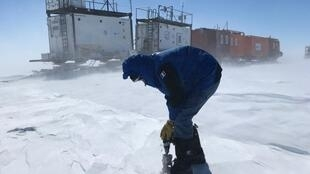 A French scientist prepares an ice core drilling as part of the East Antarctic International Ice Sheet Traverse (EAIIST) mission to one of the most remote parts of Antarctica.