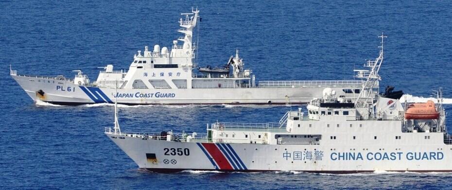 圖為中國海警船與日本海警船在東海對峙
