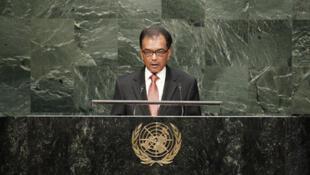 Milan Meetarbhan lors d'un débat général aux Nations Unies.