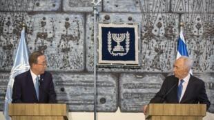 O secretário-geral da Onu, Ban Ki-moon (e), e o presidente israelense, Shimon Peres (d).