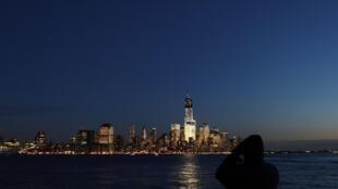 La presqu'île de Manhattan, vue depuis un parc situé le long de la rivière Hudson.