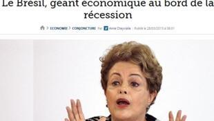 """""""O gigante econômico à beira da recessão"""", diz o jornal."""
