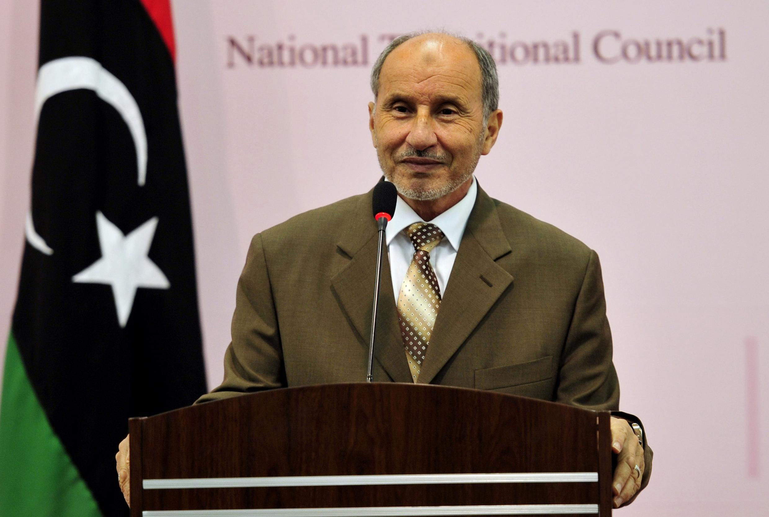 Mustafa Abdel Jalil, chairman of the Libyan National Transitional Council (NTC), attends a news conference in Benghazi August 30, 2011.