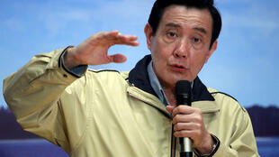 马英九在台北一个新闻发布会上回答提问 2016年1月28日