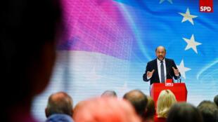 Martin Schulz, président du Parti social-démocrate, à Berlin, le 16 juillet 2017. L'ex-président du Parlement européen espère battre la chancelière lors des élections législatives du 24 septembre, mais le SPD est largement distancé dans les sondages.