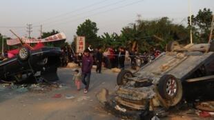 Quang cảnh sau cuộc nổi dậy của người dân làng Thượng Phố chống lại việc trưng thu đất đai trái phép của chính quyền địa phương hôm 5/3/2013.