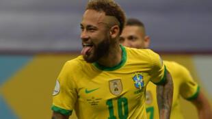 Brazil's Neymar celebrates after scoring in the 2021 Copa America opener against Venezuela