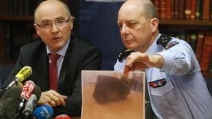 Public Prosecutor Brice Robin (L) and General David Galtier of the gendarmerie who a photo of the second black box from the Germanwings A320