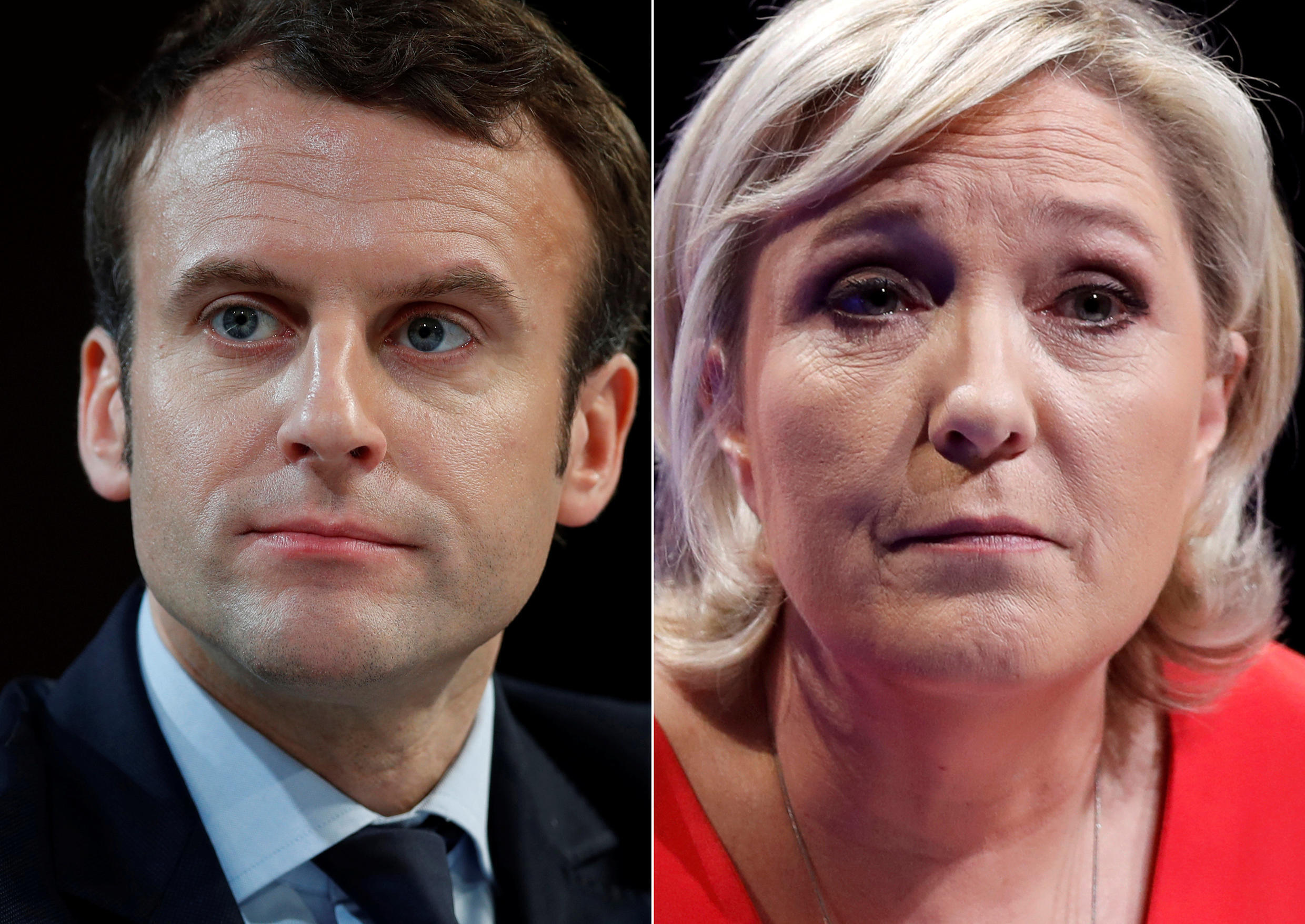 A combination picture shows portraits of the candidates who will run in the second round in the 2017 French presidential election, Emmanuel Macron (L), head of the political movement En Marche !, or Onwards !, and Marine Le Pen, French National Front (FN)
