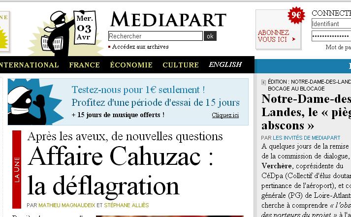 Le site d'information Mediapart  a été créée en 2008.