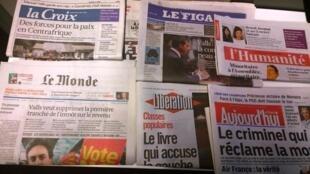 Primeiras páginas dos diários franceses 17/09/2014