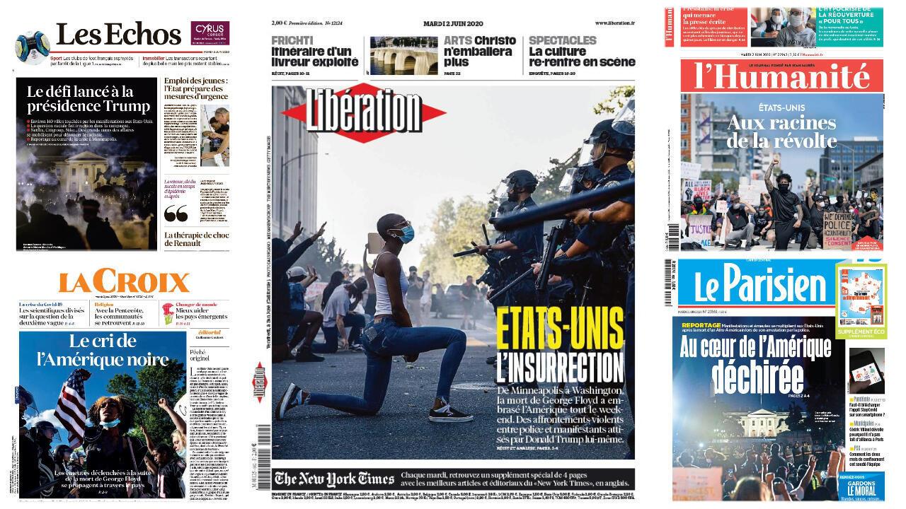 A crise nos Estados Unidos é a principal manchete dos jornais franceses desta terça-feira, 2 de junho de 2020.