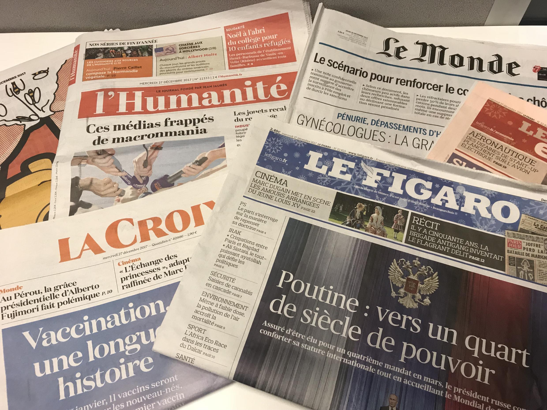 Primeiras páginas dos diários franceses 27/12/2017