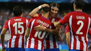 L'équipe de l'Atlético après son premier but contre le Bayern Munich, le 28 septembre 2016.