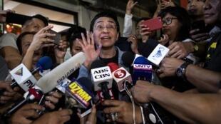 La journaliste philippine Maria Ressa à la sortie d'une des audiences de son procès le 14 février 2019, à Manille.