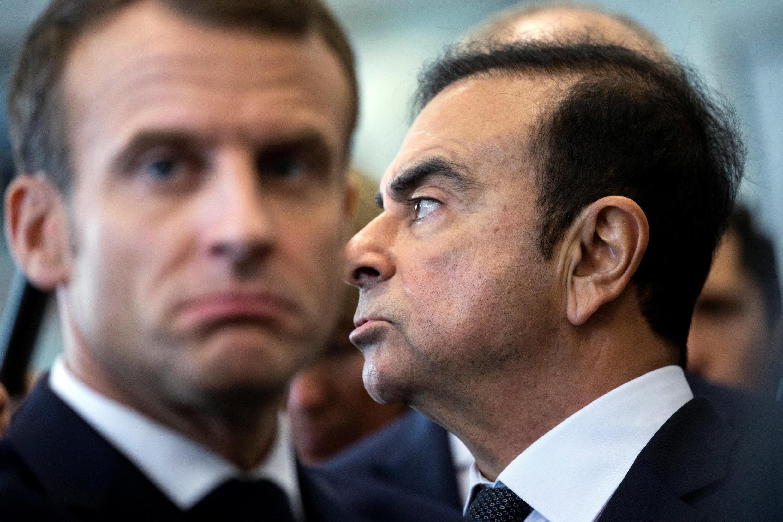 """លោកម៉ាក្រុង និងលោកកាកឡូស ហ្គោន នាយកក្រុមហ៊ុនរថយន្តបារាំង """"រឺណូ"""" (Renault)"""