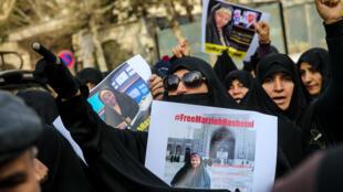 تظاهرات زنان در مقابل سفارت سوئیس، در دفاع از مرضیه هاشمی