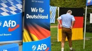 Un partisan de l'Alternative pour l'Allemagne (AfD) à la foire de Gillamoos, l'une des plus anciennes de Bavière, à Abensberg, le 2 septembre 2019.