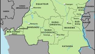 Mapa da República democrática do Congo e sua região leste, onde foi libertado francês refém.