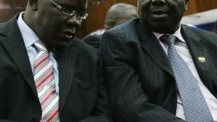 Katibu mkuu wa chama cha MDC Tendai Biti na mwenyekiti wake Morgan Tsvangirai