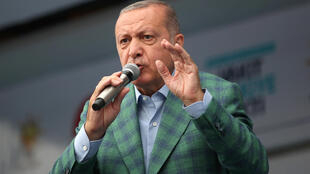 Turkish President Tayyip Erdogan at an election rally in Istanbul on Saturday