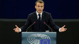 French President Emmanuel Macron delivers a speech before a debate on the Future of Europe at the European Parliament in Strasbourg, France, April 17, 2018.