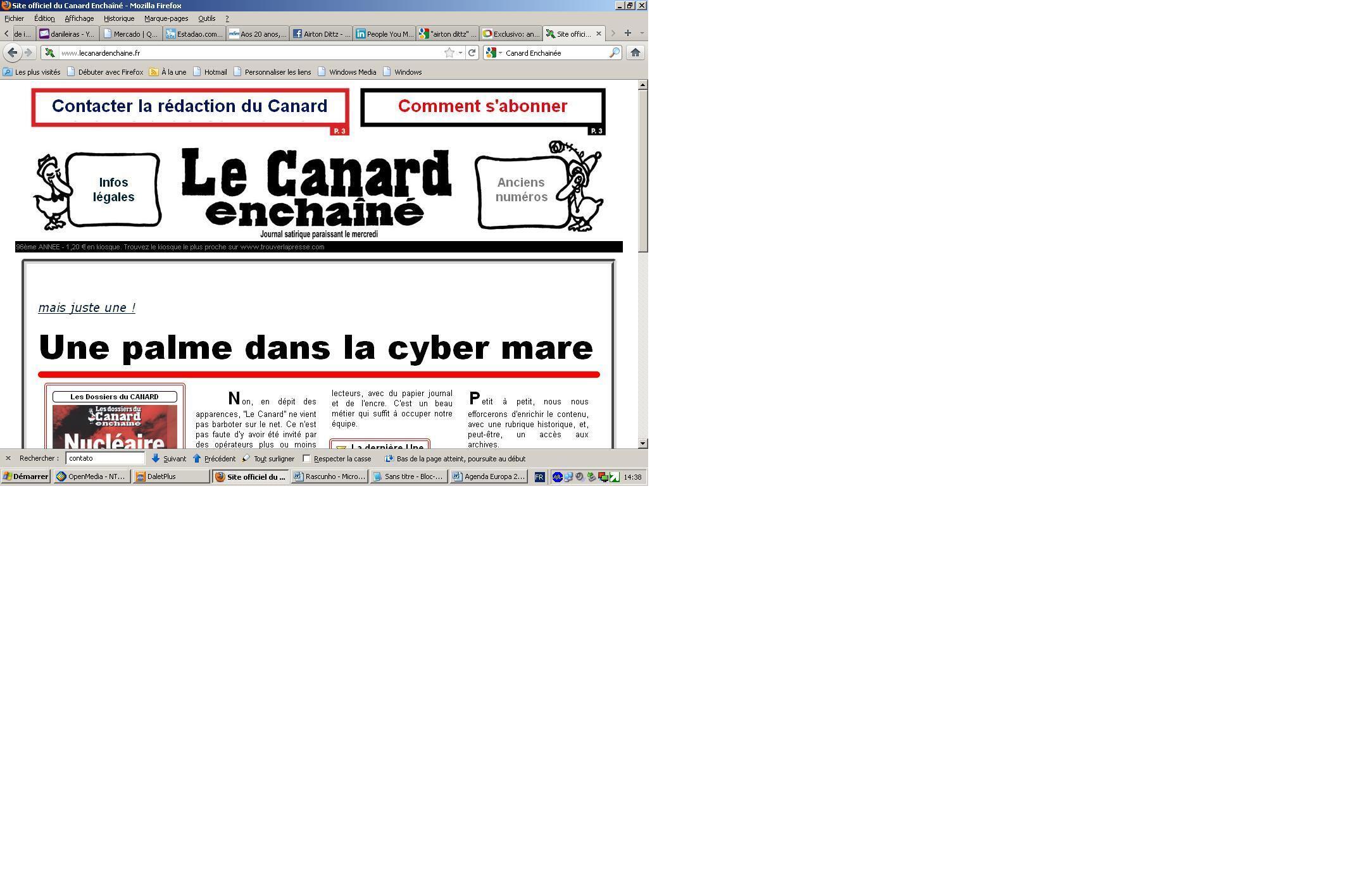 """Site do jornal francês """"Le Canard Enchainé"""""""
