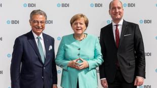 德國總理默克爾與德國聯邦工業聯合會前主席、總幹事資料圖片