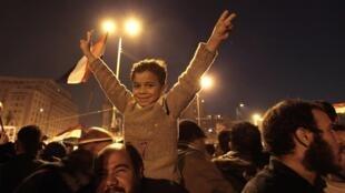 Scènes de liesse sur la place Tahrir au Caire, le 11 février 2011, à l'annonce du départ d'Hosni Moubarak.