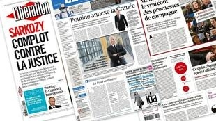 Capa dos jornais franceses Libération, Les Echos e Le Figaro desta quarta-feira, 19 de março de 2014