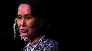 图为缅甸资政昂山素季2018年11月12日于新加坡东盟峰会