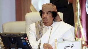 Libya's leader Muammar Gaddafi attends a meeting involving five Arab states in Tripoli