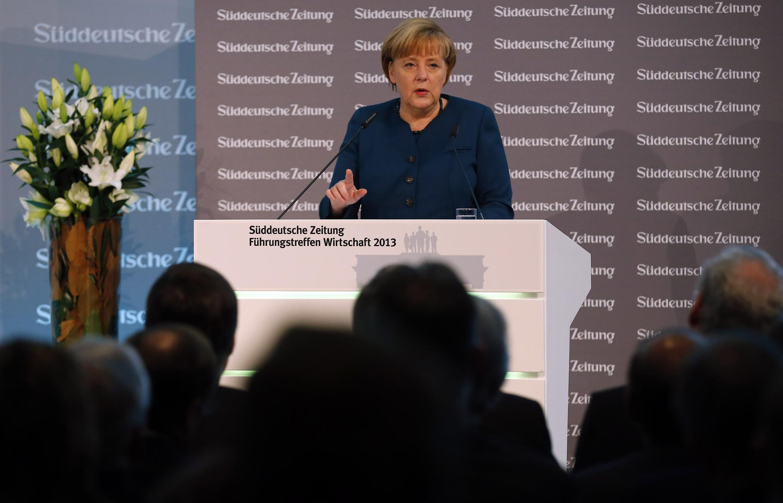 A chanceler alemã Angela Merkel durante discurso para executivos da indústria alemã nesta quinta-feira, 21 de novembro.