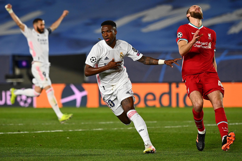 Dan wasan gaba na Real Madrid Vinicius Junior yayin murnar jefa kwallo a ragar Liverpool yayin fafatawar zangon farko na gasar cin kofin zakarun Turai.