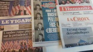 Primeiras páginas dos jornais franceses de 12 de janeiro de 2017