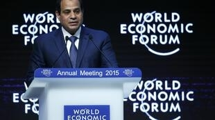 Египетский президент Абдель Фаттах аль-Сиси на Форуме в Давосе 22/01/2015