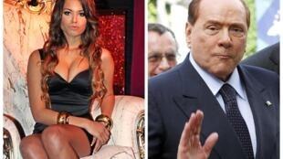 Karima El Mahroug (e), conhecida como Ruby, e o ex-chefe do governo italiano, Silvio Berlusconi.