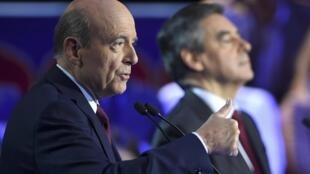 法國共和黨兩位總統初選候選人,前總理朱佩(左)與前總理菲勇。