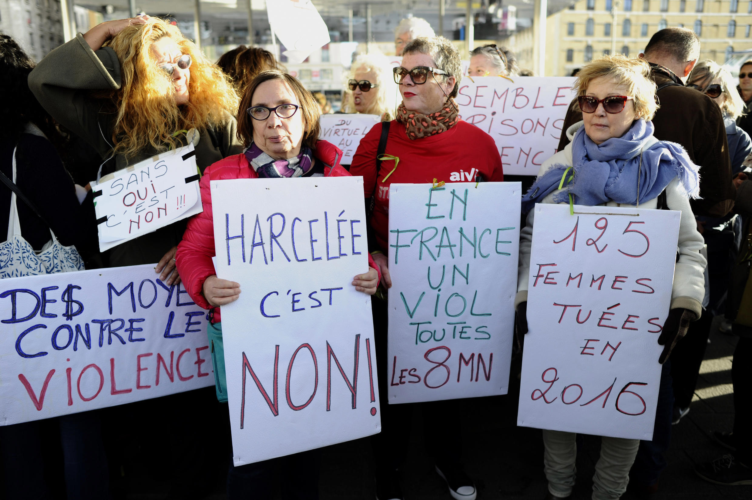 Women gather at the Old Port of Marseille, southern France, on October 29, 2017, to denounce harassment and the sexual violence in everyday life