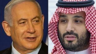 Benjamin Netanyahu (izq) y Mohamed bin Salman, en sendas fotografías tomadas el 19 de noviembre de 2020 en Jerusalén y tres días después en Riad, respectivamente